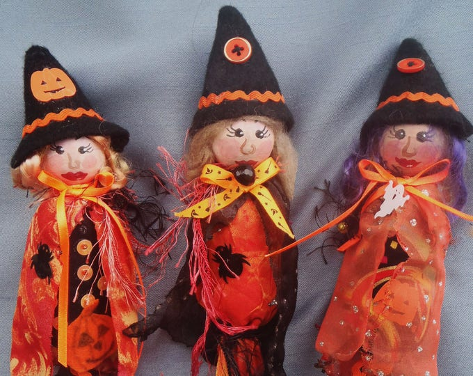 MM256E Lil Witches - Halloween Ornaments, Cloth Doll Making Pattern, PDF Download Sewing Pattern