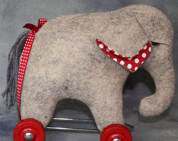 CH103E - Pull Toy Elephant Tutorial and Pattern  ~ PDF Download Sewing Tutorial
