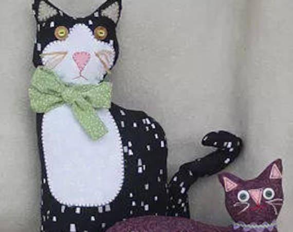 "RC603E – ""Clara & Her Kitten"" Cloth Animal Doll Sewing Pattern – PDF Download Doll Making Pattern"