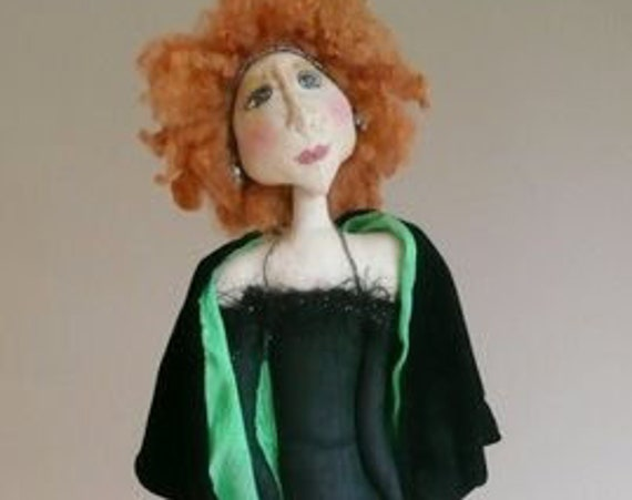 """PS302E - Angie  -  25"""" Jazz Singer Cloth Art Doll Making Sewing Pattern - PDF Download by Phyllis Scaringe of LaDeeDolls"""