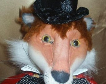 SR824E - Fox Hunting  -  Animal Cloth Doll Making Sewing Pattern by Suzette Rugolo, PDF Download
