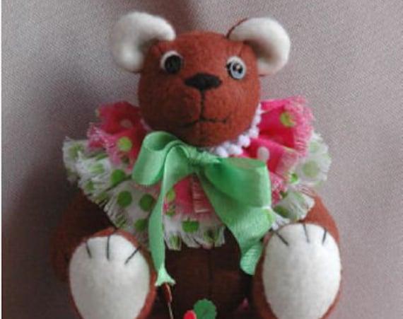 HB906E - Buttons, The Pincushion Bear - Felt Teddy Bear Cloth Animal Doll Sewing Pattern - PDF Download by Billie Heisler