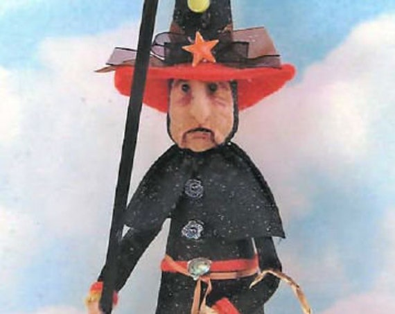 """SE776 - Kraft Witch,  13"""" Witch Fabric Art Doll Pattern,  Sewing Cloth Doll Pattern - PDF Download by Susan Barmore"""