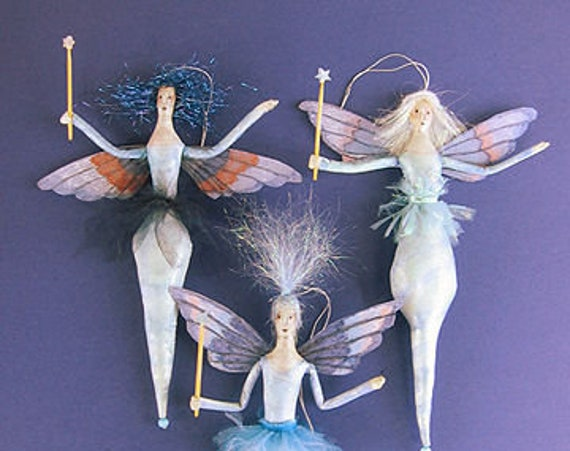 "SE454 - Icicle Fairies, 8"" Fabric Doll Pattern,  Sewing Cloth Doll Pattern - PDF Download by Susan Barmore"