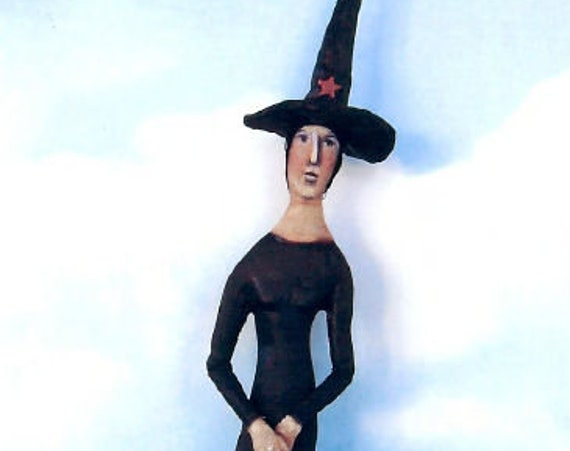 """SE760 - Slim Sister, 14"""" Witch Fabric Art Doll Pattern,  Sewing Cloth Doll Pattern - PDF Download by Susan Barmore"""
