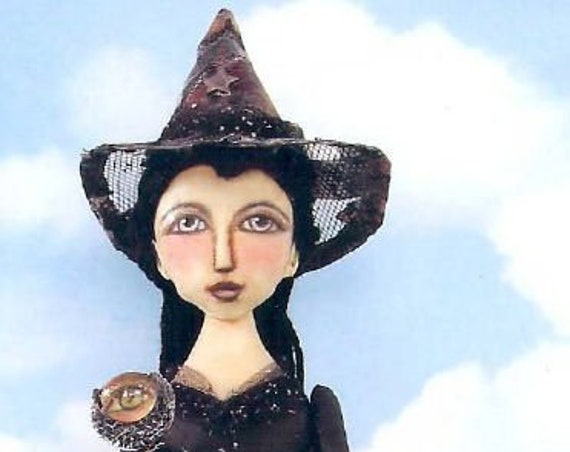 "SE448 - Hope Witch,  18"" Witch Fabric Art Doll Pattern,  Sewing Cloth Doll Pattern - PDF Download by Susan Barmore"