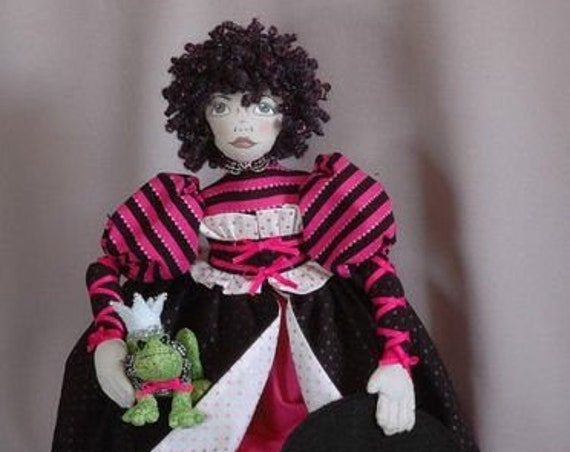"HB806E - Lovelorn Lena and Her Frog Prince, 20"" Cloth Witch Doll and Frog Making Sewing Pattern - PDF Download by Billie Heisler"