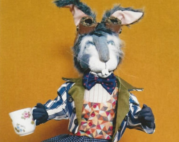 SR833E - The Mad March Hare  -  Animal (Rabbit) Storybook Cloth Doll Making Sewing Pattern by Suzette Rugolo, PDF Download