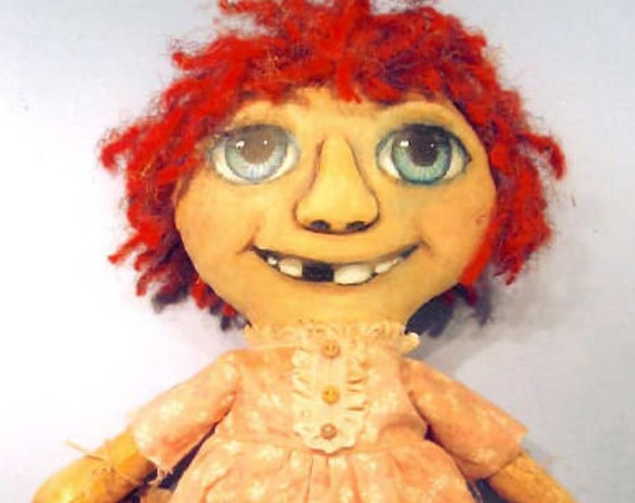 "SE824 - Missing Tooth Anne, 15""  Raggedy Fabric Doll Pattern,  Sewing Cloth Doll Pattern - PDF Download by Susan Barmore"