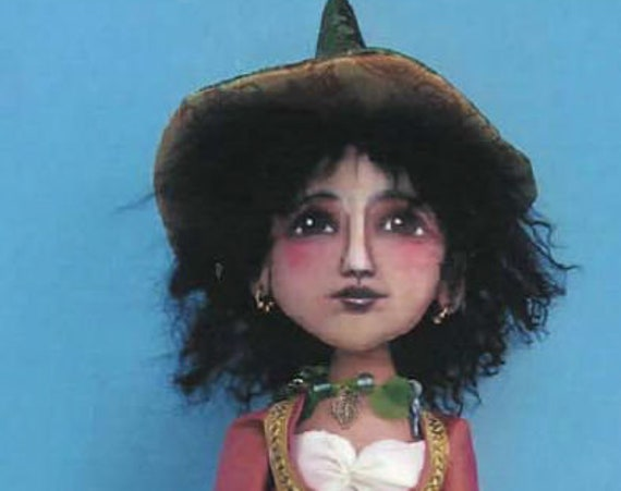 """SE777 - Gypsy Witch,  16"""" Witch Fabric Art Doll Pattern,  Sewing Cloth Doll Pattern - PDF Download by Susan Barmore"""