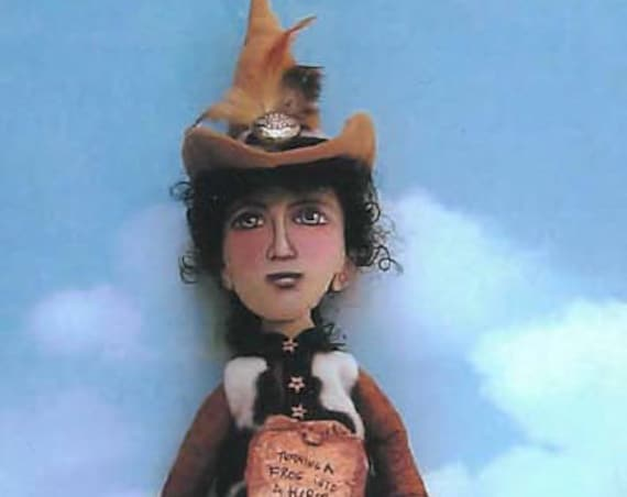"""SE732 - Turning a Frog into a Horse Witch,  24""""  Fabric Art Doll Pattern,  Sewing Cloth Doll Pattern - PDF Download by Susan Barmore"""