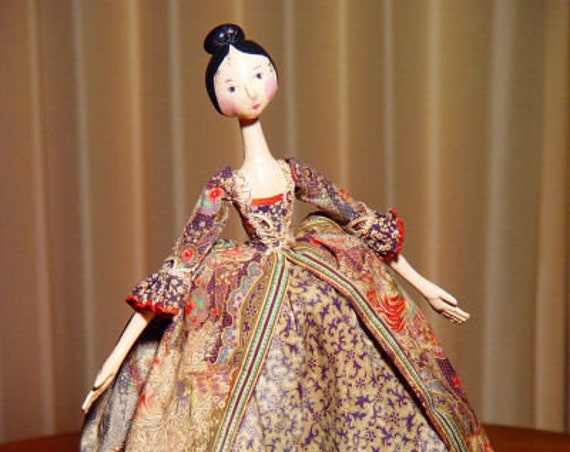 BS310E - In the Style of Queen Anne - Cloth Art Doll Pattern -  PDF Download Sewing Pattern by Barbara Schoenoff