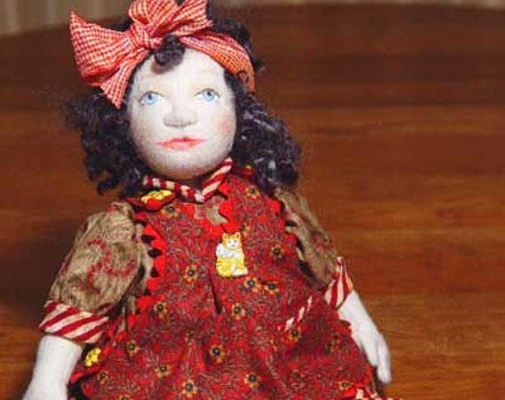 "BS311E - Sylvie, 12"" Soft Sculptured Felt Cloth Boy Doll Pattern -  PDF Download Sewing Pattern by Barbara Schoenoff"