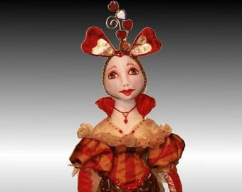 """Queen of Hearts,  PDF 18"""" Cloth Doll Making Sewing Pattern by Kimberly McDermott - Download and Start Sewing Today!"""