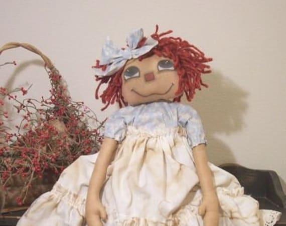 """RP227E - – Happy Anni , 28"""" PDF Raggedy Ann Cloth Doll Pattern by Michelle Allen of Raggedy Pants Designs"""