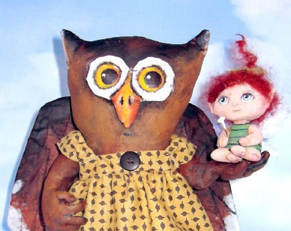 SE708 - Ms. Peach and Fairy  Fabric Owl and Fairy Doll Pattern,  Sewing Cloth Doll Pattern - PDF Download by Susan Barmore