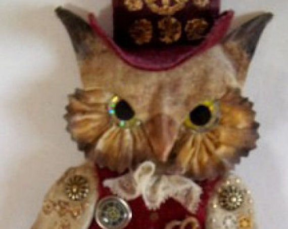 "LL520E - OWLIVER  7"" Steampunk Owl Cloth Bird Doll Pattern - PDF Download Doll Making Sewing Pattern by Laura Lunsford"
