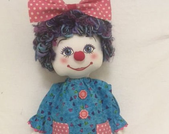 """RC612E – """"Flubs the Clown"""" 18""""  Fabric Clown Doll Sewing Pattern – PDF Download Doll Making Pattern"""