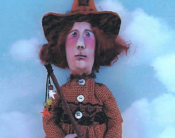 """SE725 - Witch With Broom,  24""""  Fabric Doll Pattern,  Sewing Cloth Doll Pattern - PDF Download by Susan Barmore"""