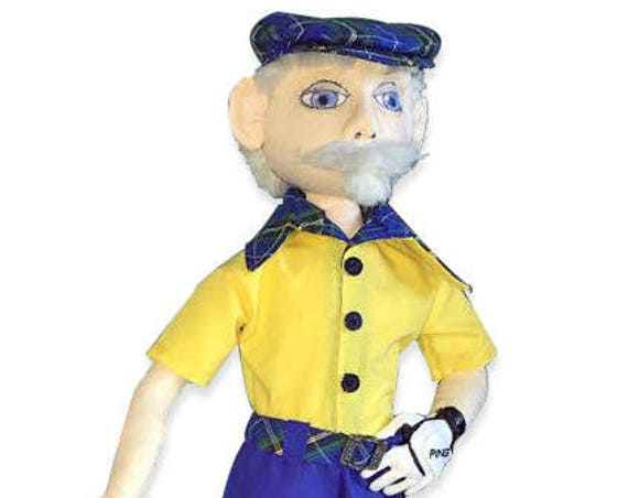 "NI102E - Mulligan, 17.5"" Golfer Cloth Doll Making Sewing Pattern"