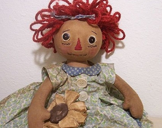 "RP347E - Sunflower Annie, 14"" PDF Download Primitive Raggedy Ann Cloth Doll Pattern by Michelle Allen of Raggedy Pants Designs"