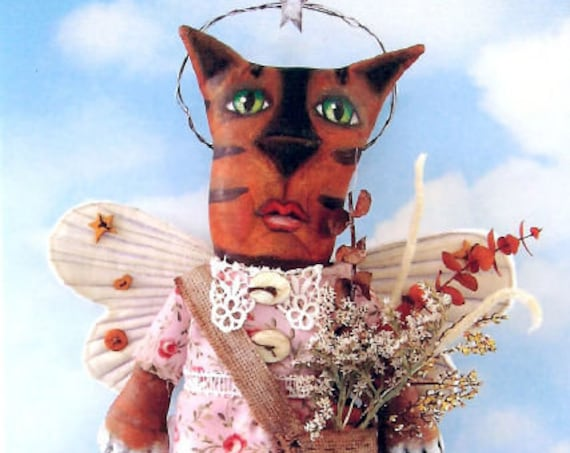 """SE764 - Alma,  14"""" Painted Fabric Cat Doll Pattern - PDF Download by Susan Barmore"""