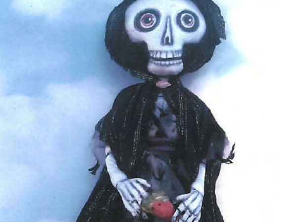 """SE731 - Witch with Good Luck Dolls,  18""""  Fabric Art Doll Pattern,  Sewing Cloth Doll Pattern - PDF Download by Susan Barmore"""
