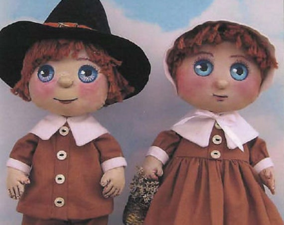 SE729 - Young Pilgrims,  Boy and Girl Fabric Doll Pattern,  Sewing Cloth Doll Pattern - PDF Download by Susan Barmore