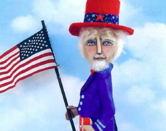 "SE747 - Flag Day,  6"" Painted Fabric Uncle Sam Fabric Sewing Doll Pattern - PDF Download by Susan Barmore"