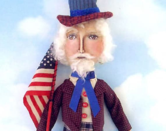 "SE728 - Uncle Sam David, 18"" Fabric Sewing Doll Pattern - PDF Download by Susan Barmore"
