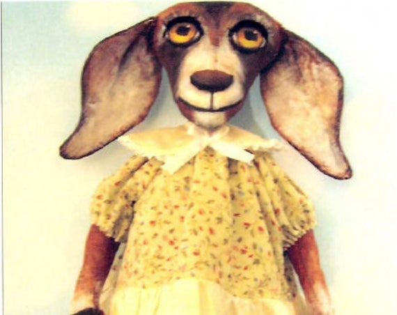 """SE340 - Jane the Jumping Goat,  17"""" Painted Cloth Doll Pattern - PDF Download by Susan Barmore"""