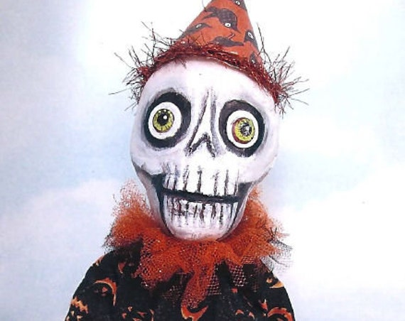 "SE781 - Halloween Bone Head,  9""  Art Doll Pattern,  Sewing Cloth Doll Pattern - PDF Download by Susan Barmore"