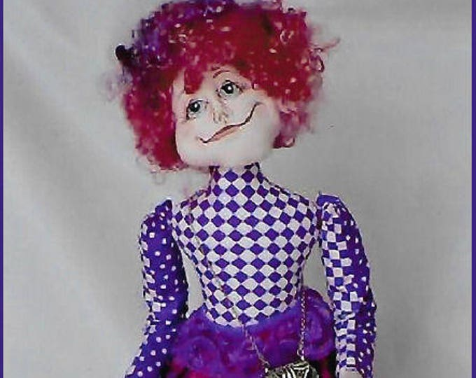 KK795E – Mrs Gilley Willey  - Cloth Doll Making Sewing Pattern, PDF Download