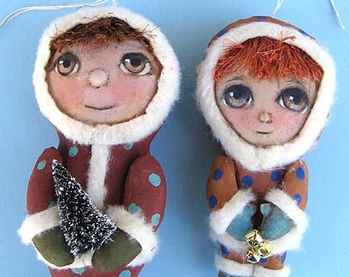 SE452E -  Winter Boys, Holiday Ornament Doll Art Pattern - PDF Download by Susan Barmore