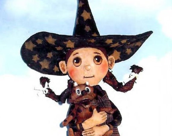 "SE417 - Nikki, 14"" Fabric Witch Art Doll Pattern,  Sewing Cloth Doll Pattern - PDF Download by Susan Barmore"