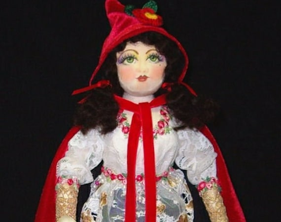 """CE706E – Red Riding Hood, 15"""" PDF Cloth Storybook Character Pattern and Instructions by Caroline Erbsland"""