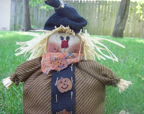 """RP222E - Harvest Time, 11"""" Scarecrow with pumpkins  PDF Download Cloth Doll Pattern by Michelle Allen of Raggedy Pants Designs"""