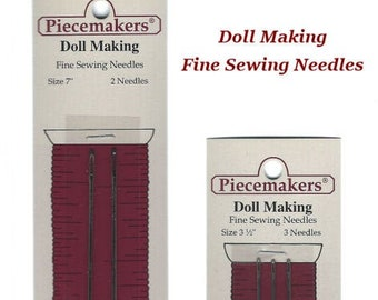 """Piecemakers Fine Doll Making Needles 7"""" and 3.5"""" - Hand Sewing Needles for Dollmaking"""