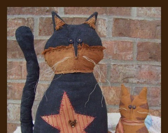 RP217E - Cattails - Rustic Cat and Kitty,  Animal PDF Cloth Doll Pattern by Michelle Allen of Raggedy Pants Designs