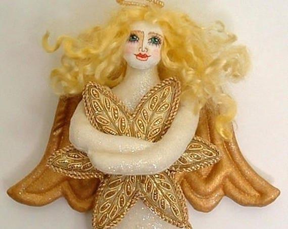 LA201E - Golden Angel,  Cloth Wall Doll Making Sewing  Pattern - PDF Download