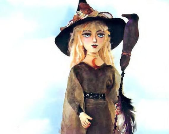 SE836 - Night Wanderer - Standing Witch Art Doll Pattern,  Sewing Cloth Doll Pattern - PDF Download by Susan Barmore
