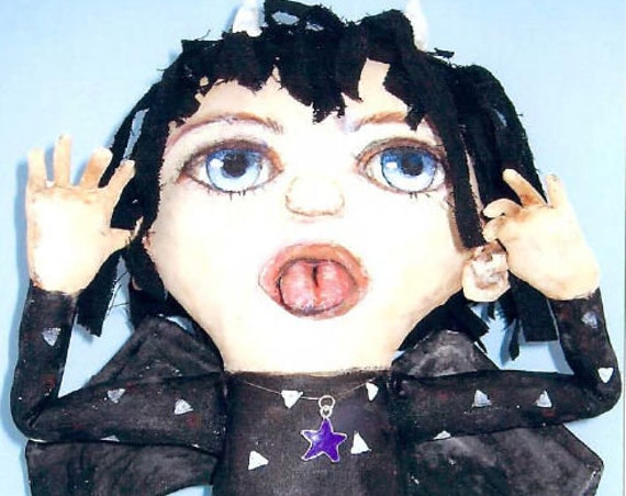 SE769 - Devil Girl,  Fabric Art Doll Pattern,  Sewing Cloth Doll Pattern - PDF Download by Susan Barmore