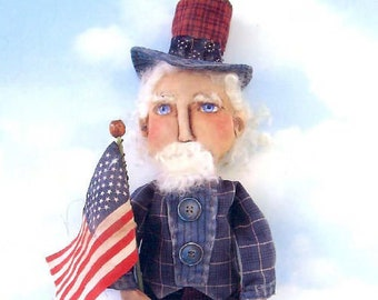"""SE734 - Uncle Sam, 19"""" Fabric Sewing Doll Pattern - PDF Download by Susan Barmore"""