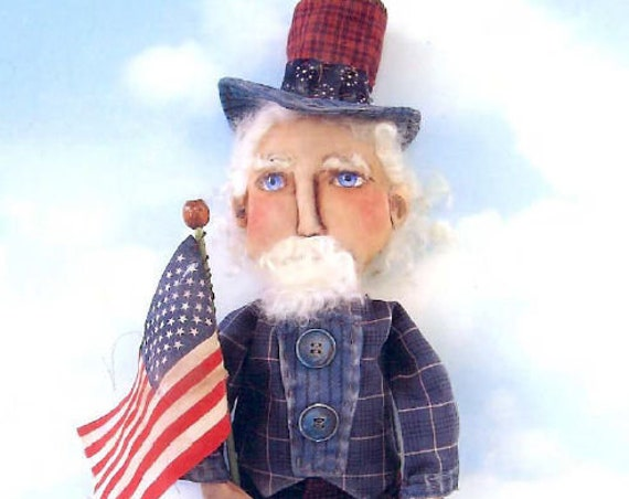 "SE734 - Uncle Sam, 19"" Fabric Sewing Doll Pattern - PDF Download by Susan Barmore"