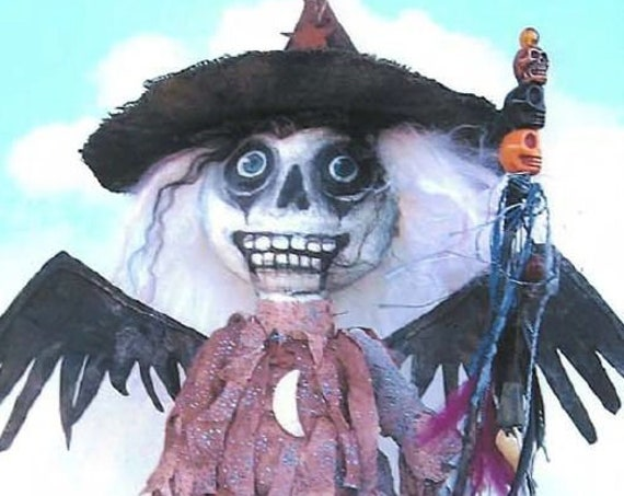 """SE828 - Marilyn,  15"""" Skeleton Witch Art Doll Pattern,  Sewing Cloth Doll Pattern - PDF Download by Susan Barmore"""