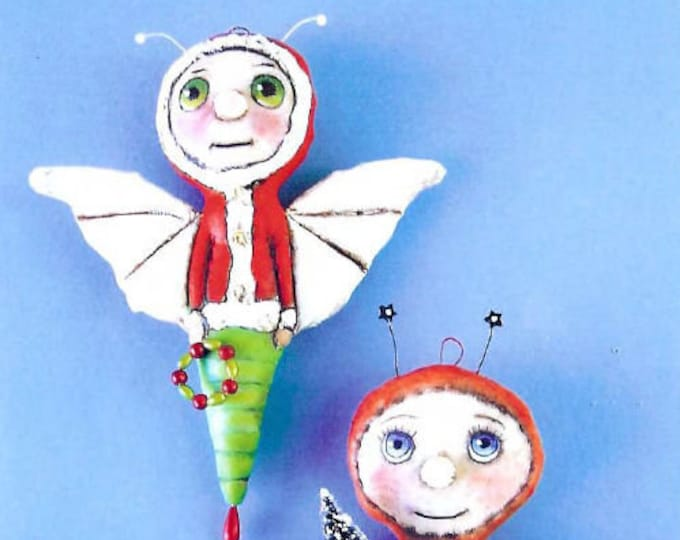 """SE416E -  Christmas Bugs, 6"""" Painted Bug Ornament Doll Art Pattern - PDF Download by Susan Barmore"""