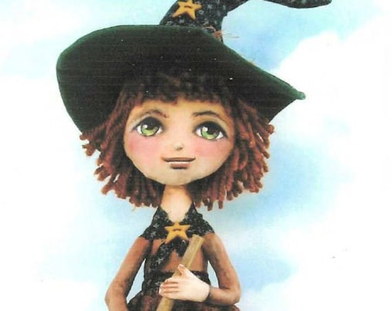 "SE445 -Millie, 16"" Witch Fabric Doll Pattern,  Sewing Cloth Doll Pattern - PDF Download by Susan Barmore"