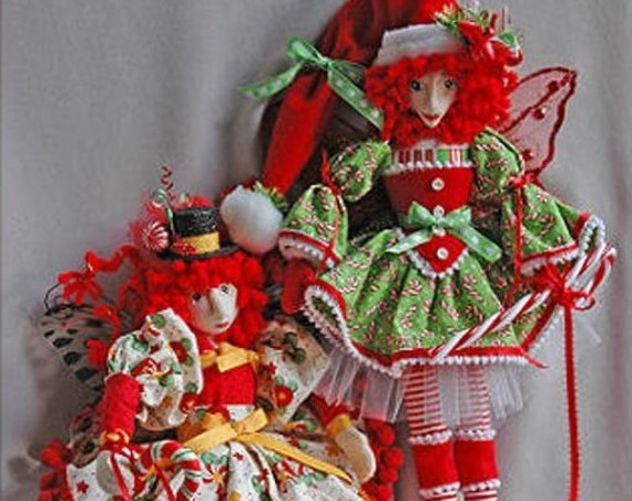 """HB809E -  Candice Cane & Pepper Mint - 18"""" Christmas Fairies Cloth Doll Making Sewing Pattern - PDF Download by Billie Heisler"""