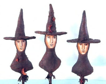 SE762 - Three Witches,  Witch Fabric Art Doll Pattern,  Sewing Cloth Doll Pattern - PDF Download by Susan Barmore
