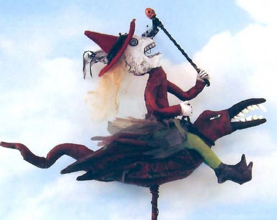 SE821 - Joy Ride,  Witch Riding A Bird Art Doll Pattern,  Sewing Cloth Doll Pattern - PDF Download by Susan Barmore